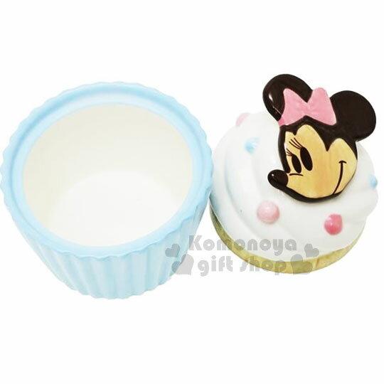 〔小禮堂〕迪士尼 米妮 造型陶瓷收納罐《藍.杯子蛋糕》置物罐.糖果罐 1