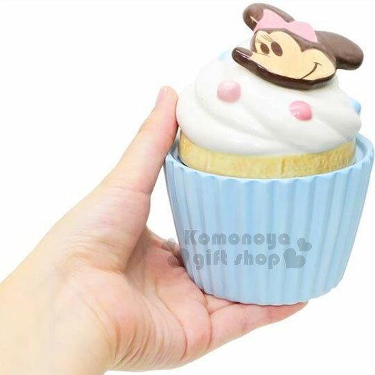 〔小禮堂〕迪士尼 米妮 造型陶瓷收納罐《藍.杯子蛋糕》置物罐.糖果罐 2