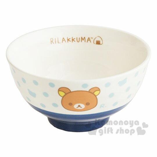 〔小禮堂〕拉拉熊懶懶熊日製陶瓷碗《藍.大臉.點點》飯碗.精緻盒裝