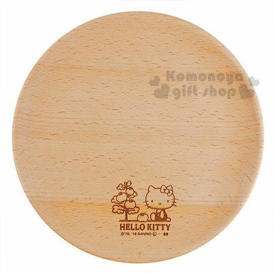 〔小禮堂〕Hello Kitty 木質圓盤《棕.側坐.番茄樹》菜盤.點心盤 0