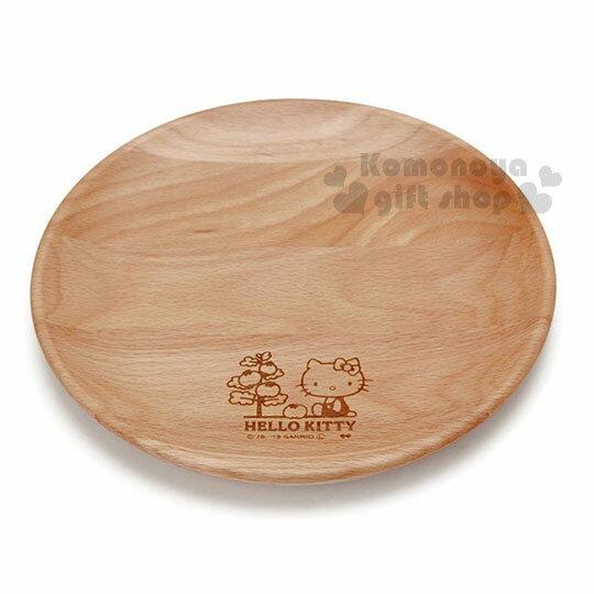 〔小禮堂〕Hello Kitty 木質圓盤《棕.側坐.番茄樹》菜盤.點心盤 1