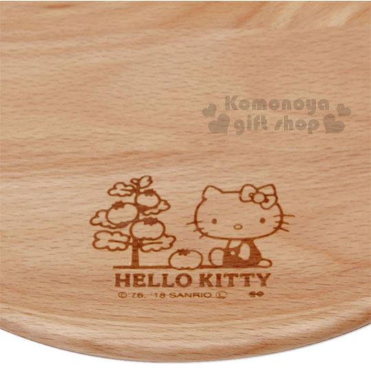 〔小禮堂〕Hello Kitty 木質圓盤《棕.側坐.番茄樹》菜盤.點心盤 2