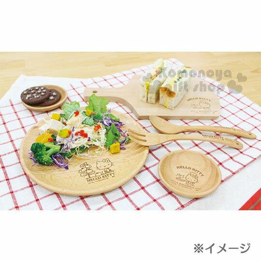 〔小禮堂〕Hello Kitty 木質圓盤《棕.側坐.番茄樹》菜盤.點心盤 4
