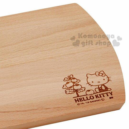〔小禮堂〕Hello Kitty 木質砧板《棕.側坐.番茄樹》托盤.餐盤 2