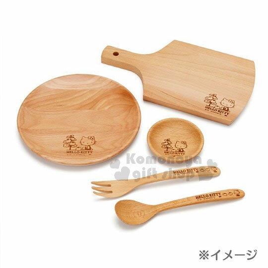 〔小禮堂〕Hello Kitty 木質砧板《棕.側坐.番茄樹》托盤.餐盤 3