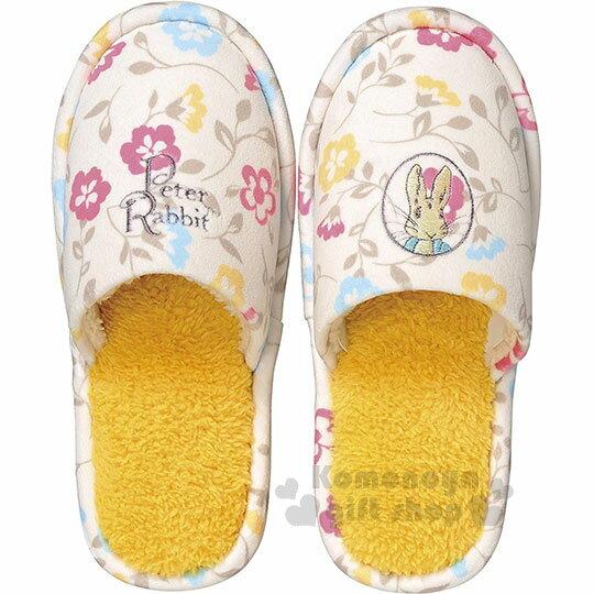 〔小禮堂〕Peter Rabbit 彼得兔 絨毛室內拖鞋《黃.大臉.花朵》絨毛拖.成人拖 0
