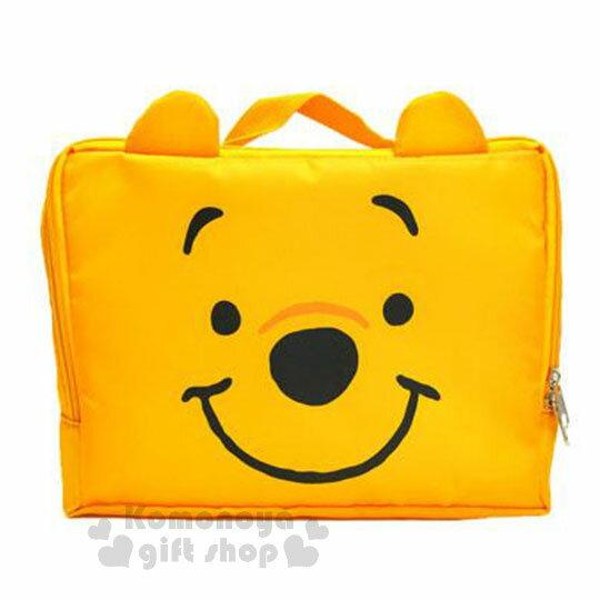 〔小禮堂〕迪士尼 小熊維尼 尼龍旅行衣物收納袋《M.黃.大臉》盥洗袋.收納包 0