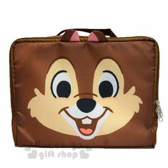 〔小禮堂〕迪士尼 奇奇蒂蒂 尼龍旅行衣物收納袋《M.深棕.大臉》盥洗袋.收納包 0