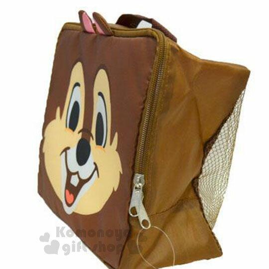 〔小禮堂〕迪士尼 奇奇蒂蒂 尼龍旅行衣物收納袋《M.深棕.大臉》盥洗袋.收納包 1