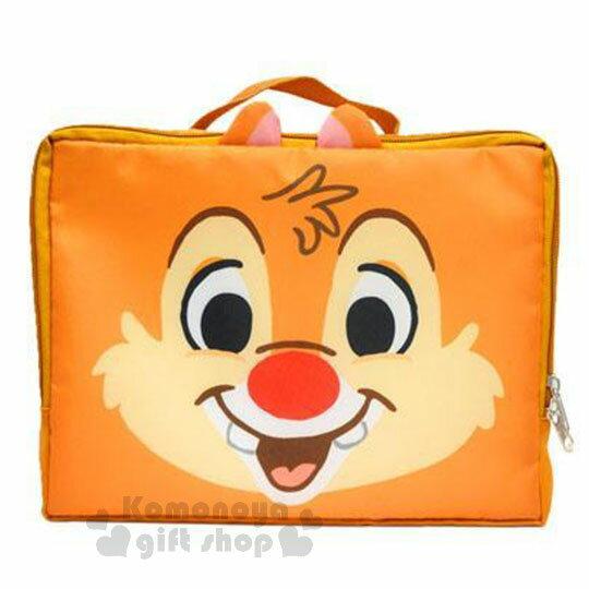 〔小禮堂〕迪士尼 奇奇蒂蒂 尼龍旅行衣物收納袋《M.淡棕.大臉》盥洗袋.收納包 0