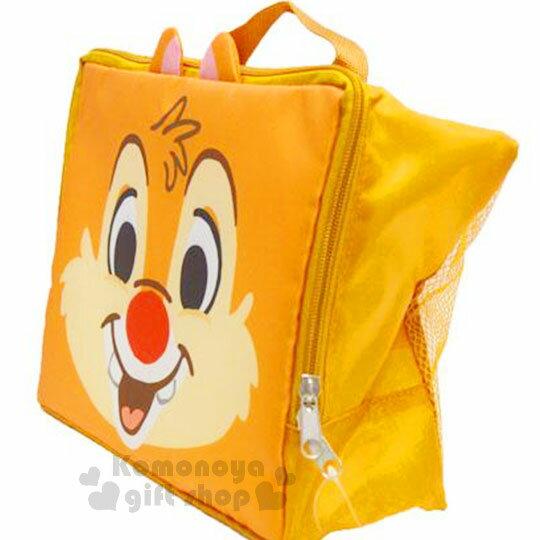 〔小禮堂〕迪士尼 奇奇蒂蒂 尼龍旅行衣物收納袋《M.淡棕.大臉》盥洗袋.收納包 1