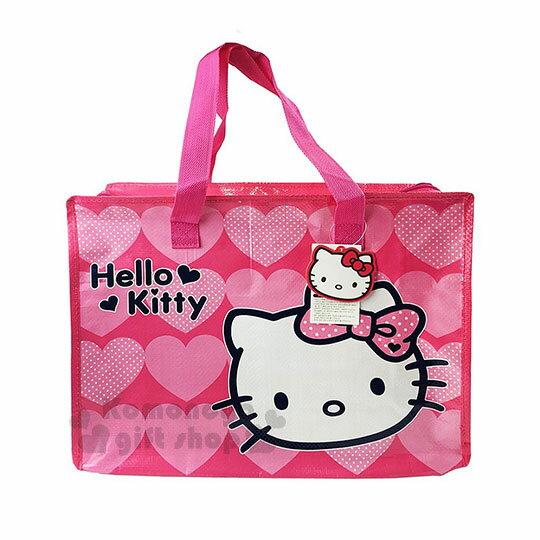 〔小禮堂〕HelloKitty大型購物袋《M.桃.大臉.愛心》棉被袋.衣物收納袋.環保袋