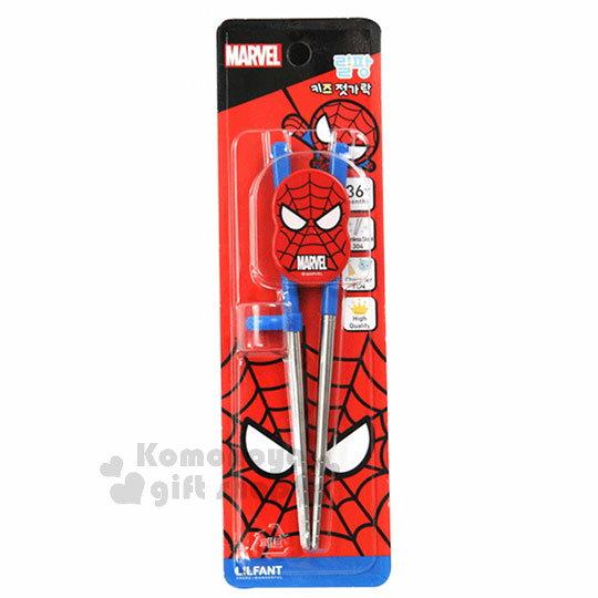 〔小禮堂〕MARVEL蜘蛛人不鏽鋼學習筷《紅藍.大臉》右手專用.環保餐具.兒童餐具