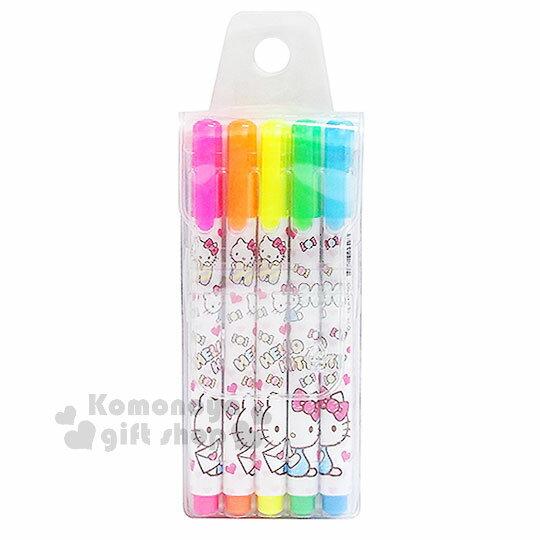 〔小禮堂〕Hello Kitty 螢光筆組《5色.糖果.側坐.滿版》彩色筆.記號筆
