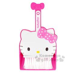 〔小禮堂〕Hello Kitty 迷你造型掃把畚箕組《粉.大臉》小掃把.桌掃組