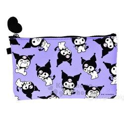 〔小禮堂〕酷洛米 矽膠扁平化妝包《紫.滿版》收納包.萬用包.筆袋