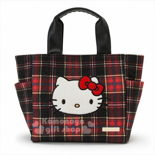 〔小禮堂〕Hello Kitty Black 絨毛皮質手提袋《紅黑》便當袋.蘇格蘭紋生日慶 0