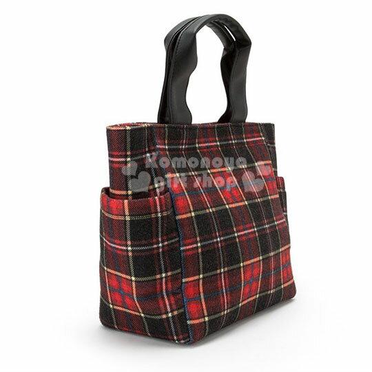 〔小禮堂〕Hello Kitty Black 絨毛皮質手提袋《紅黑》便當袋.蘇格蘭紋生日慶 1