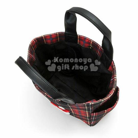 〔小禮堂〕Hello Kitty Black 絨毛皮質手提袋《紅黑》便當袋.蘇格蘭紋生日慶 2