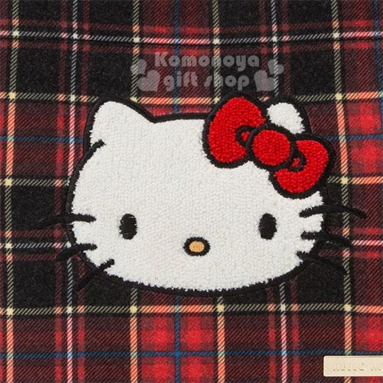 〔小禮堂〕Hello Kitty Black 絨毛皮質手提袋《紅黑》便當袋.蘇格蘭紋生日慶 3