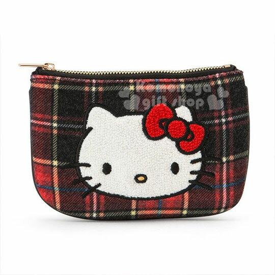 〔小禮堂〕Hello Kitty Black 絨毛皮質面紙零錢包《紅黑》收納包.蘇格蘭紋生日慶 0