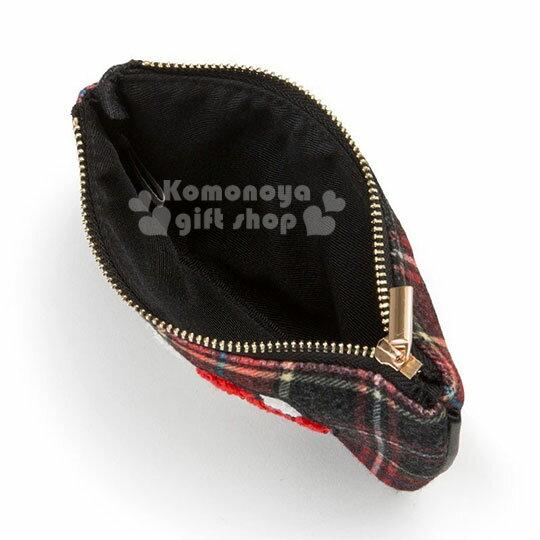 〔小禮堂〕Hello Kitty Black 絨毛皮質面紙零錢包《紅黑》收納包.蘇格蘭紋生日慶 2