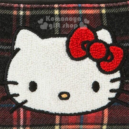 〔小禮堂〕Hello Kitty Black 絨毛皮質面紙零錢包《紅黑》收納包.蘇格蘭紋生日慶 3