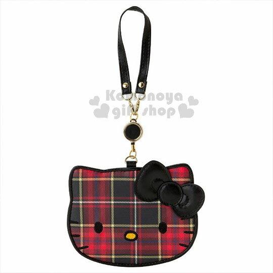 〔小禮堂〕Hello Kitty Black 皮質造型伸縮票卡夾《紅黑》證件套.蘇格蘭紋生日慶 0