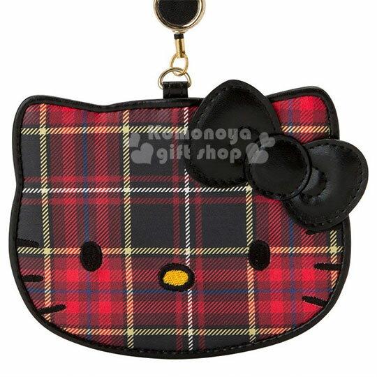 〔小禮堂〕Hello Kitty Black 皮質造型伸縮票卡夾《紅黑》證件套.蘇格蘭紋生日慶 1