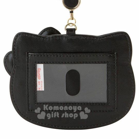 〔小禮堂〕Hello Kitty Black 皮質造型伸縮票卡夾《紅黑》證件套.蘇格蘭紋生日慶 2