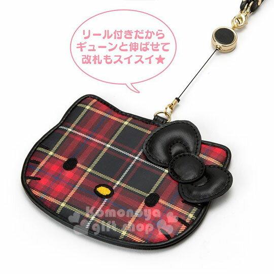 〔小禮堂〕Hello Kitty Black 皮質造型伸縮票卡夾《紅黑》證件套.蘇格蘭紋生日慶 3