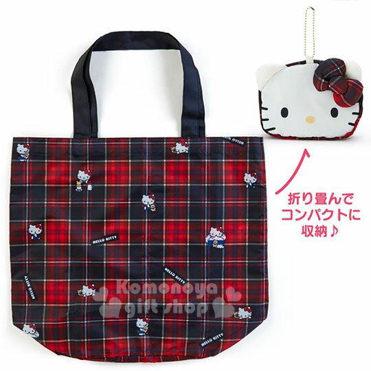 〔小禮堂〕Hello Kitty Black 折疊尼龍環保購物袋附收納包《紅黑》蘇格蘭紋生日慶 0