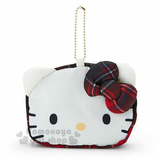 〔小禮堂〕Hello Kitty Black 折疊尼龍環保購物袋附收納包《紅黑》蘇格蘭紋生日慶 1