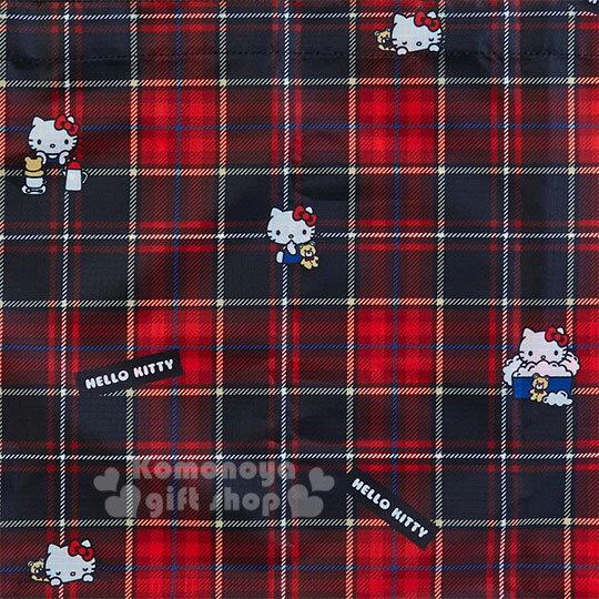 〔小禮堂〕Hello Kitty Black 折疊尼龍環保購物袋附收納包《紅黑》蘇格蘭紋生日慶 3