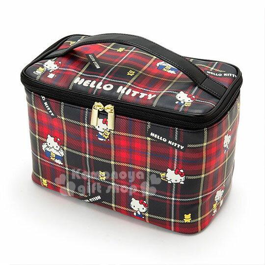 〔小禮堂〕Hello Kitty Black 皮質手提化妝箱《紅黑》化妝包.蘇格蘭紋生日慶 0
