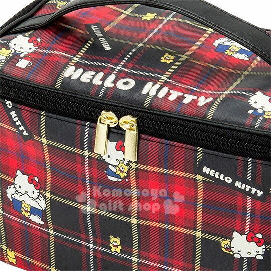 〔小禮堂〕Hello Kitty Black 皮質手提化妝箱《紅黑》化妝包.蘇格蘭紋生日慶 1