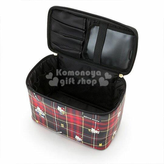 〔小禮堂〕Hello Kitty Black 皮質手提化妝箱《紅黑》化妝包.蘇格蘭紋生日慶 2