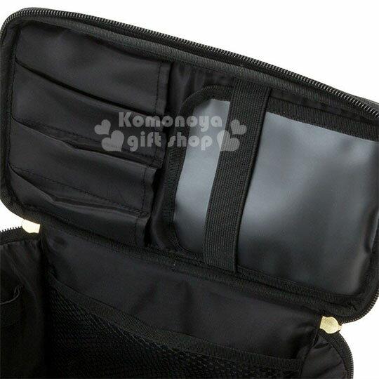 〔小禮堂〕Hello Kitty Black 皮質手提化妝箱《紅黑》化妝包.蘇格蘭紋生日慶 3