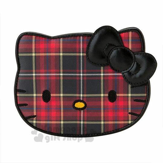 〔小禮堂〕Hello Kitty Black 皮質造型折疊鏡《紅黑》立鏡.蘇格蘭紋生日慶 0