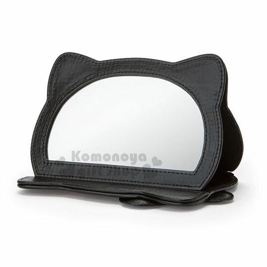 〔小禮堂〕Hello Kitty Black 皮質造型折疊鏡《紅黑》立鏡.蘇格蘭紋生日慶 2