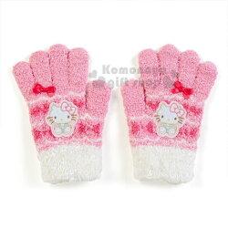 〔小禮堂〕Hello Kitty 兒童針織保暖手套《桃白.坐姿》2018溫暖禦冬系列