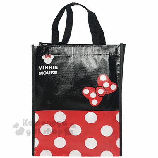 〔小禮堂〕迪士尼 米奇 米妮 直式不織布購物手提袋《紅黑.點點》銅板小物 1