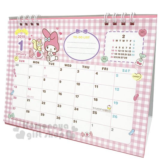 〔小禮堂〕美樂蒂 2019日製線圈式桌曆《粉》月曆.日曆.行事曆.銅板小物 0