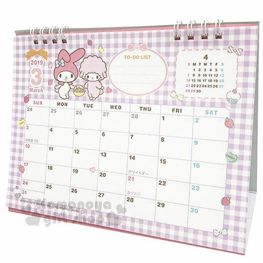 〔小禮堂〕美樂蒂 2019日製線圈式桌曆《粉》月曆.日曆.行事曆.銅板小物 2