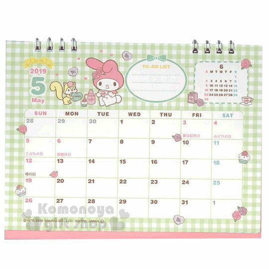 〔小禮堂〕美樂蒂 2019日製線圈式桌曆《粉》月曆.日曆.行事曆.銅板小物 4