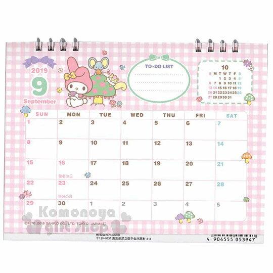〔小禮堂〕美樂蒂 2019日製線圈式桌曆《粉》月曆.日曆.行事曆.銅板小物 5