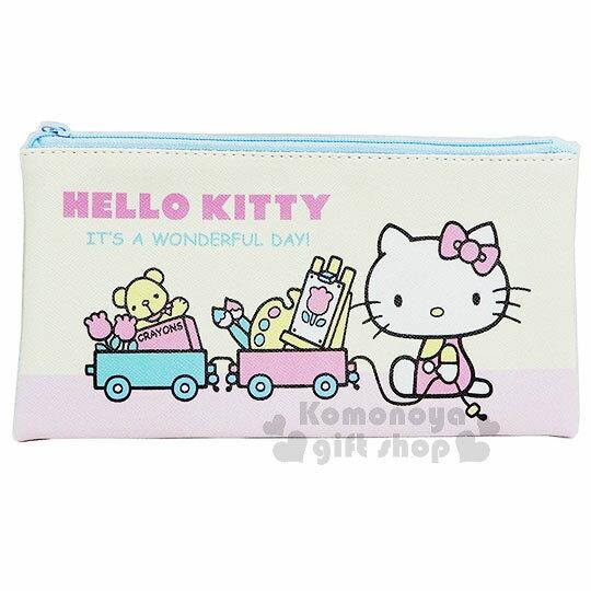 〔小禮堂〕Hello Kitty 皮質扁平拉鍊筆袋《粉黃.坐姿.列車》收納包.化妝包.鉛筆盒