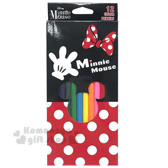 〔小禮堂〕迪士尼 米妮 盒裝12色色鉛筆《紅黑.點點》美術用品.銅板小物 0