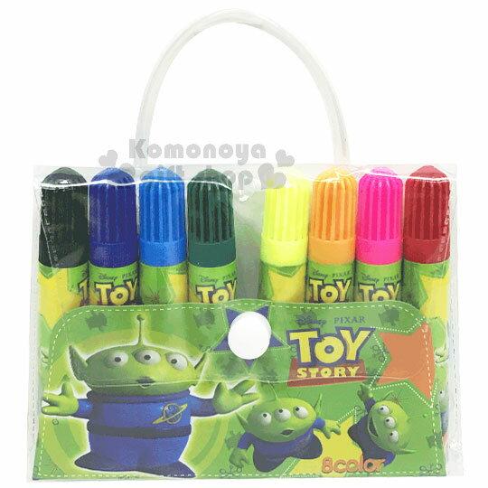 〔小禮堂〕迪士尼 三眼怪 袋裝8色彩色筆組《綠.星星》美術用品.銅板小物 0