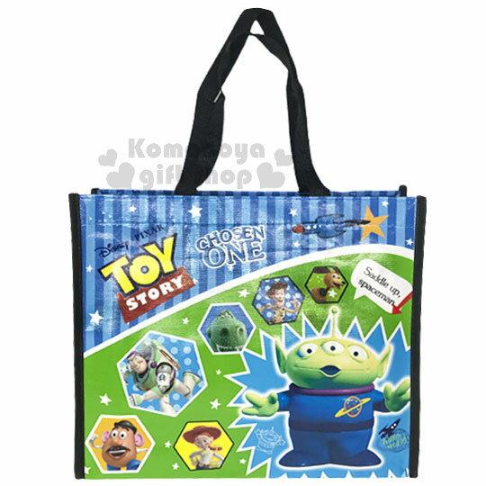 〔小禮堂〕迪士尼  玩具總動員 不織布購物手提袋《藍.直紋.星星.黑提把》銅板小物 0
